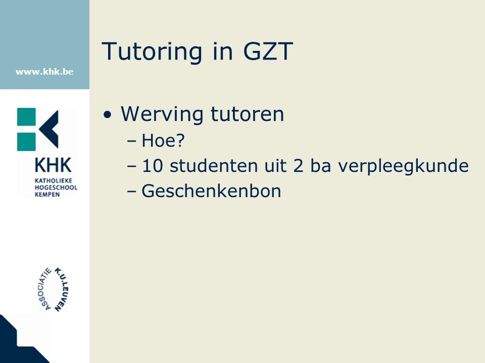 Tutoring in GZT Werving tutoren Hoe