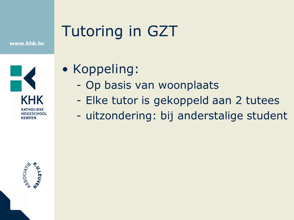 Tutoring in GZT Koppeling: Op basis van woonplaats