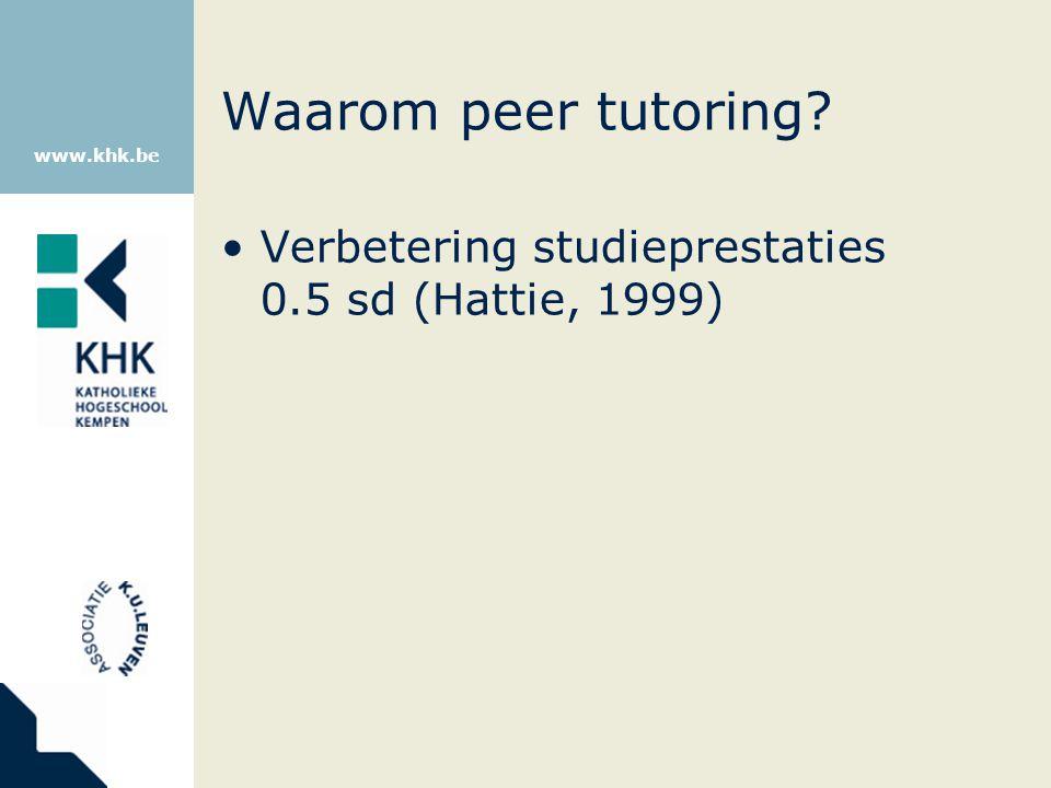 Waarom peer tutoring Verbetering studieprestaties 0.5 sd (Hattie, 1999)