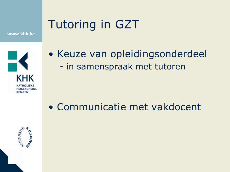 Tutoring in GZT Keuze van opleidingsonderdeel