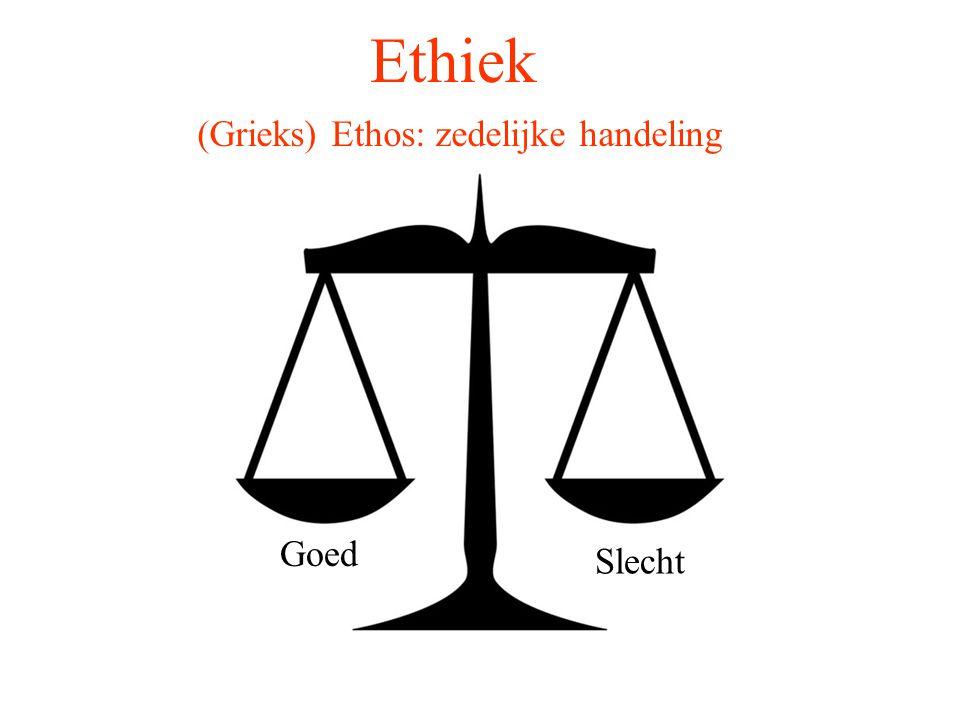 Ethiek (Grieks) Ethos: zedelijke handeling Goed Slecht
