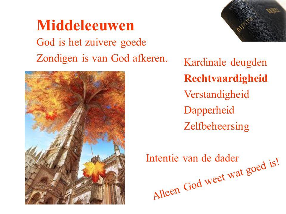 Middeleeuwen God is het zuivere goede Zondigen is van God afkeren.