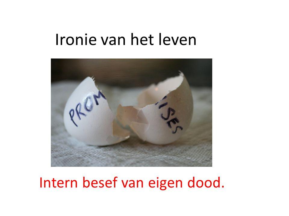 Ironie van het leven Intern besef van eigen dood.