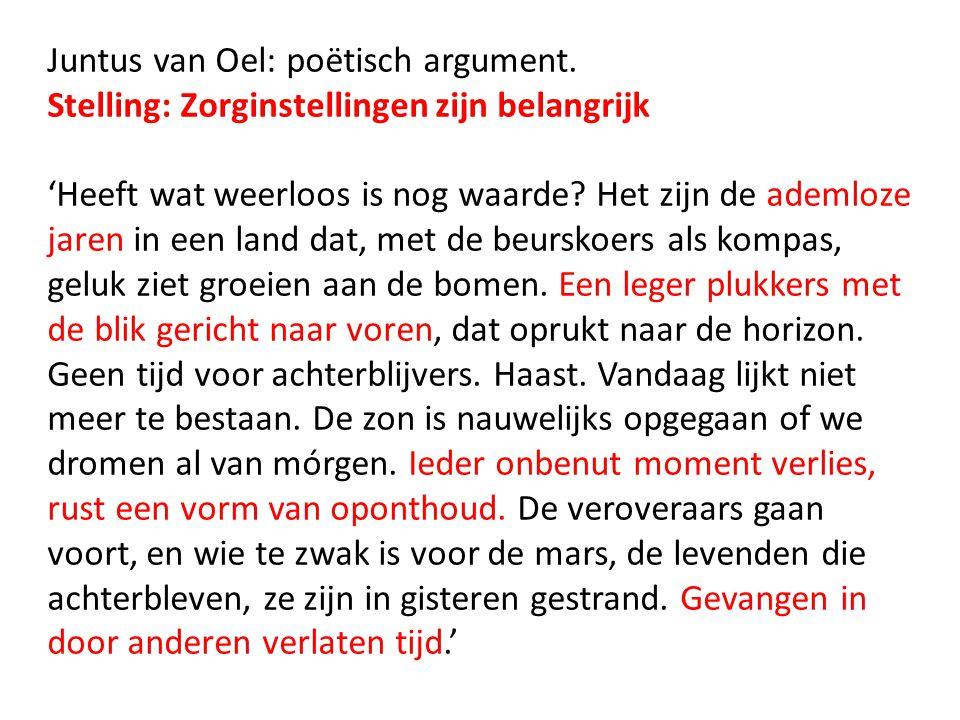 Juntus van Oel: poëtisch argument.