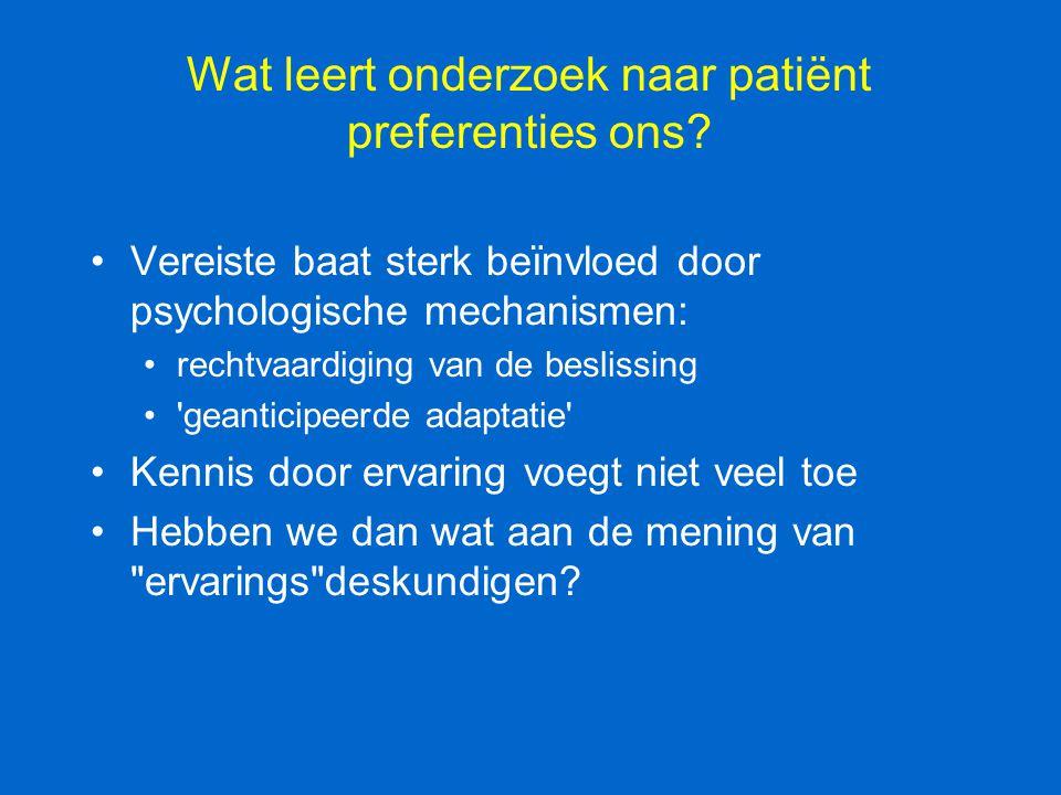 Wat leert onderzoek naar patiënt preferenties ons