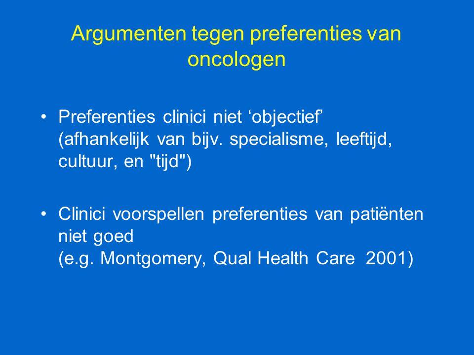 Argumenten tegen preferenties van oncologen