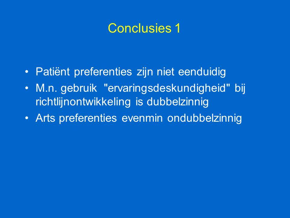 Conclusies 1 Patiënt preferenties zijn niet eenduidig