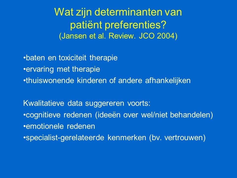 Wat zijn determinanten van patiënt preferenties. (Jansen et al. Review