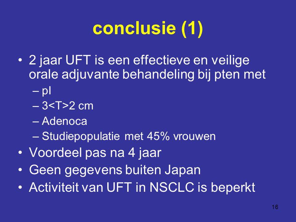 conclusie (1) 2 jaar UFT is een effectieve en veilige orale adjuvante behandeling bij pten met. pI.