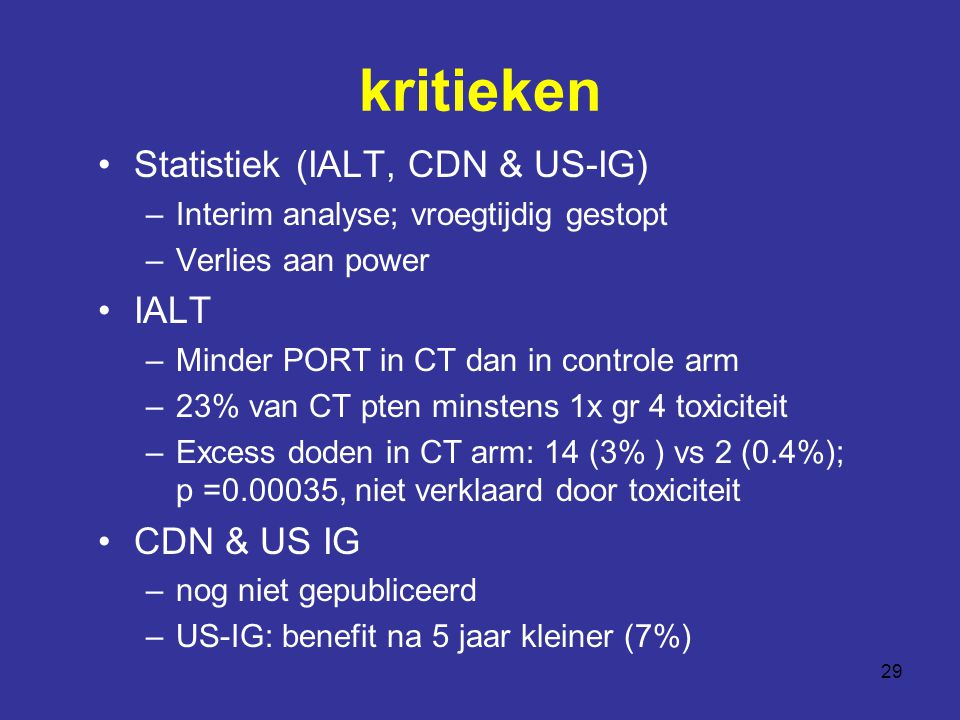 kritieken Statistiek (IALT, CDN & US-IG) IALT CDN & US IG