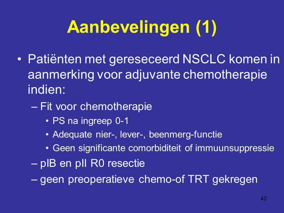 Aanbevelingen (1) Patiënten met gereseceerd NSCLC komen in aanmerking voor adjuvante chemotherapie indien: