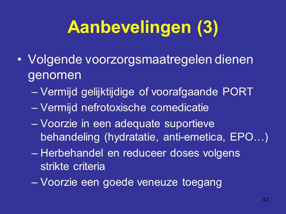 Aanbevelingen (3) Volgende voorzorgsmaatregelen dienen genomen