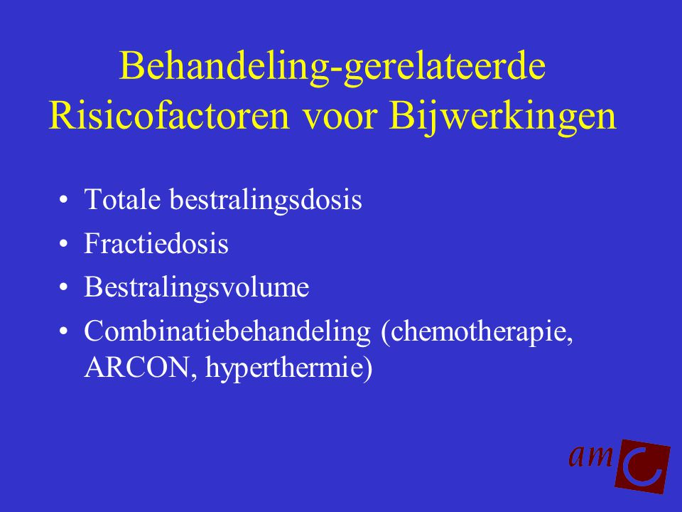 Behandeling-gerelateerde Risicofactoren voor Bijwerkingen