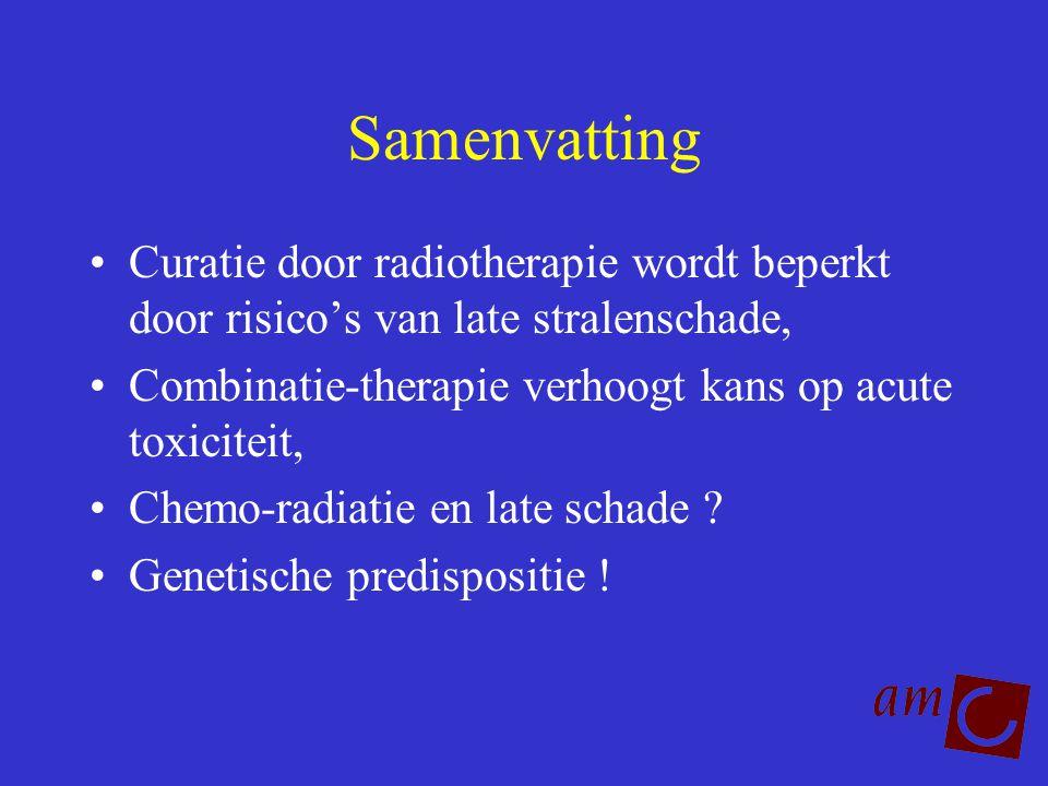 Samenvatting Curatie door radiotherapie wordt beperkt door risico's van late stralenschade, Combinatie-therapie verhoogt kans op acute toxiciteit,