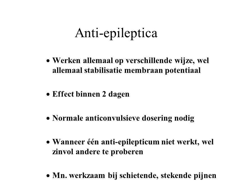 Anti-epileptica Werken allemaal op verschillende wijze, wel allemaal stabilisatie membraan potentiaal.