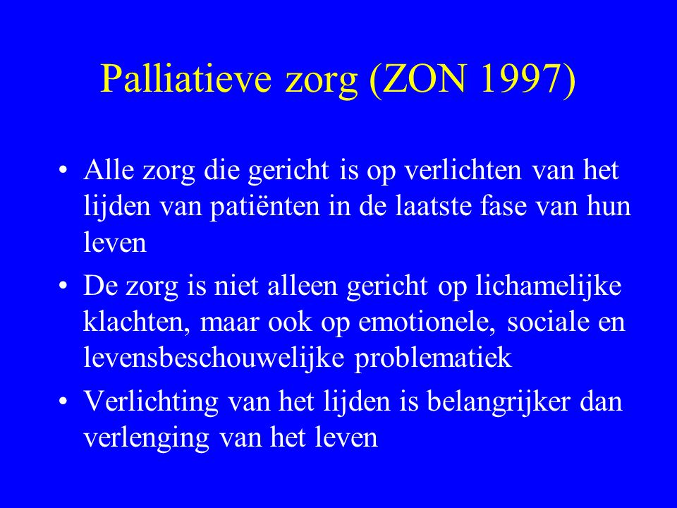 Palliatieve zorg (ZON 1997)