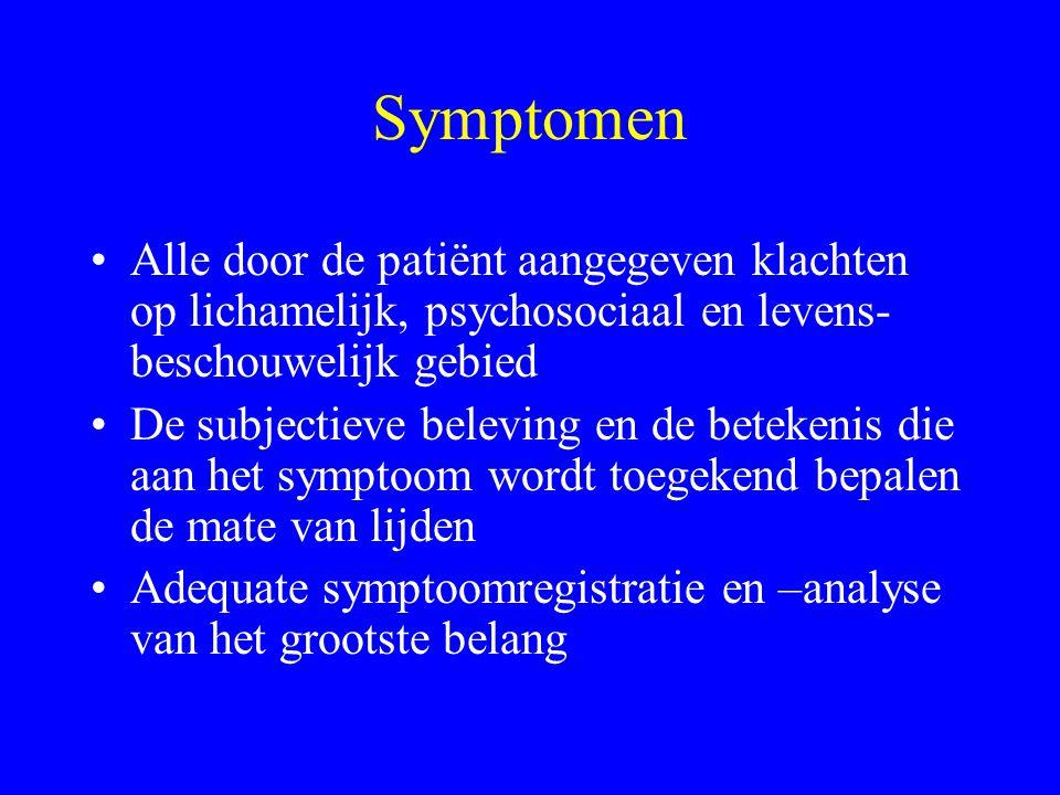 Symptomen Alle door de patiënt aangegeven klachten op lichamelijk, psychosociaal en levens-beschouwelijk gebied.