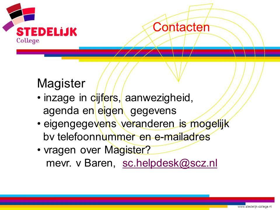 Contacten Magister inzage in cijfers, aanwezigheid,
