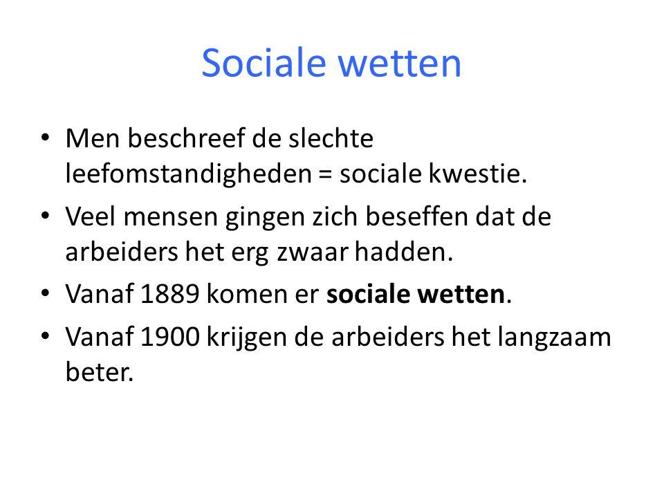 Sociale wetten Men beschreef de slechte leefomstandigheden = sociale kwestie.