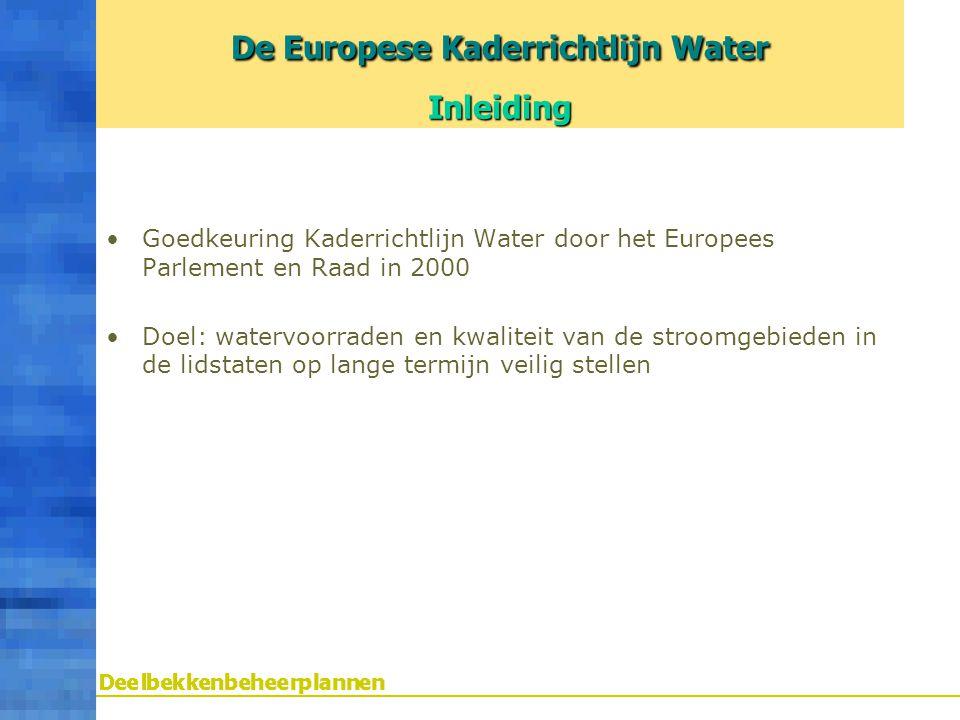 De Europese Kaderrichtlijn Water Inleiding