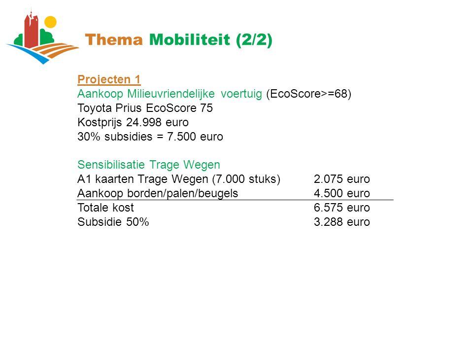 Thema Mobiliteit (2/2) Projecten 1