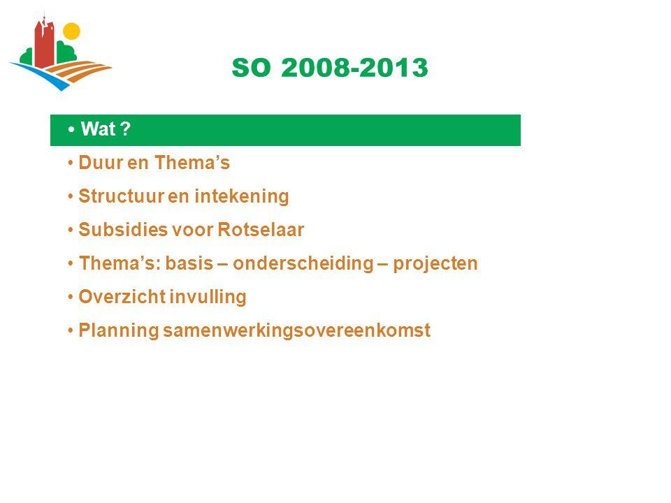 SO 2008-2013 Duur en Thema's Structuur en intekening