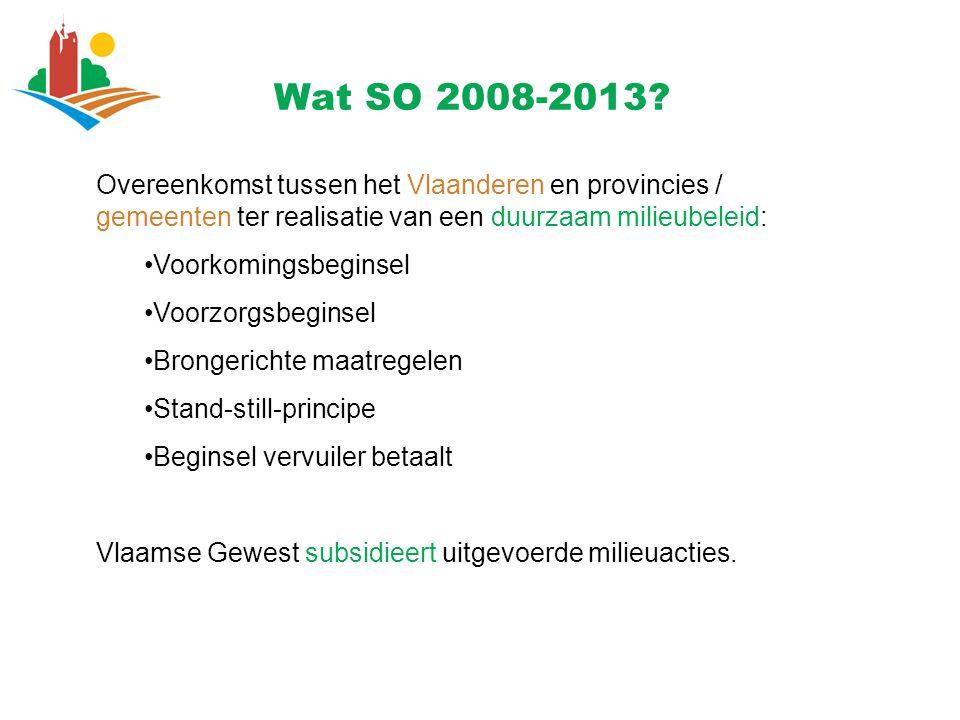 Wat SO 2008-2013 Overeenkomst tussen het Vlaanderen en provincies / gemeenten ter realisatie van een duurzaam milieubeleid: