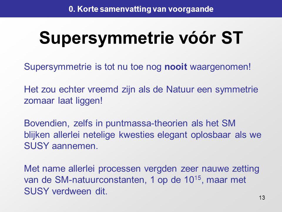 Supersymmetrie vóór ST