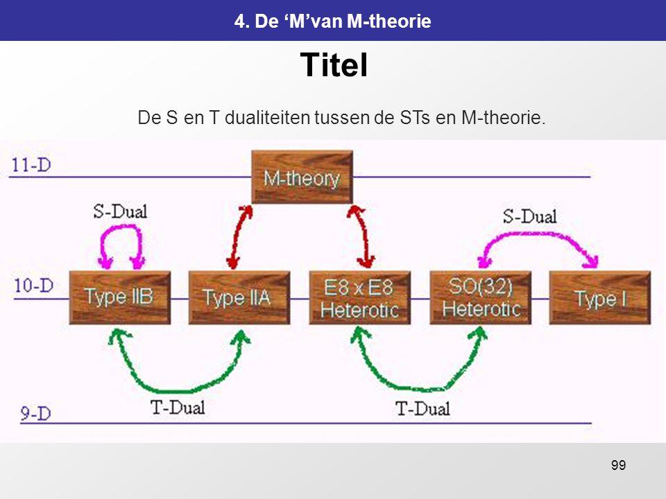 De S en T dualiteiten tussen de STs en M-theorie.
