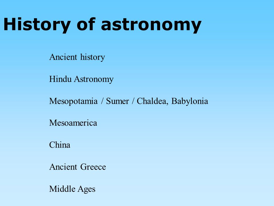 History of astronomy Ancient history Hindu Astronomy