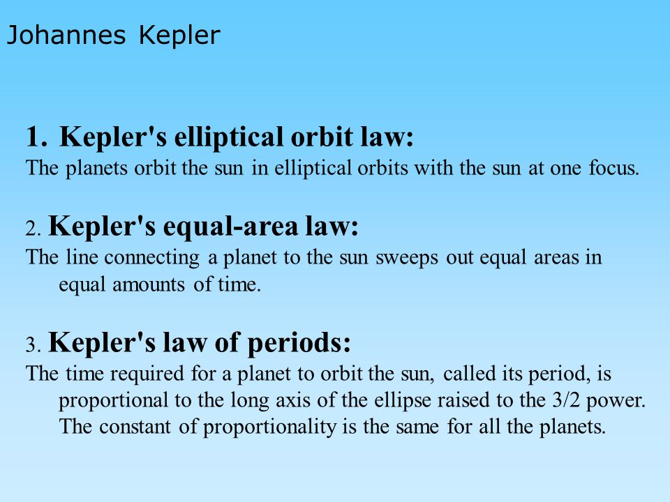 Kepler s elliptical orbit law: