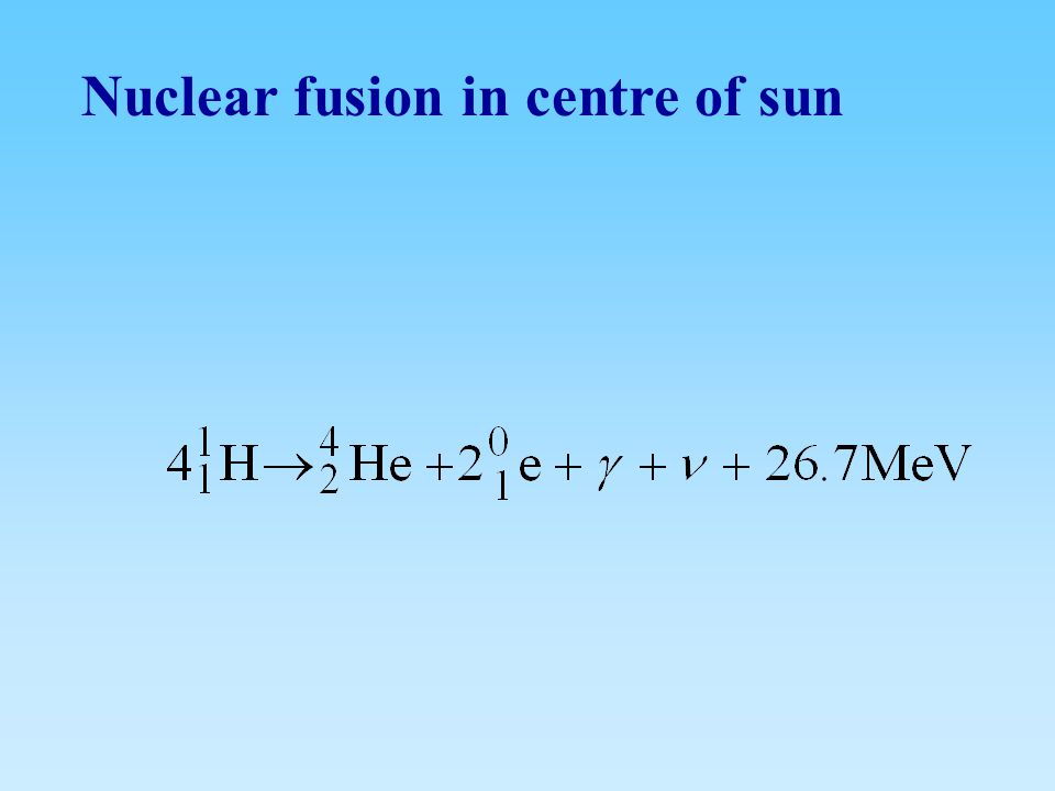 Nuclear fusion in centre of sun