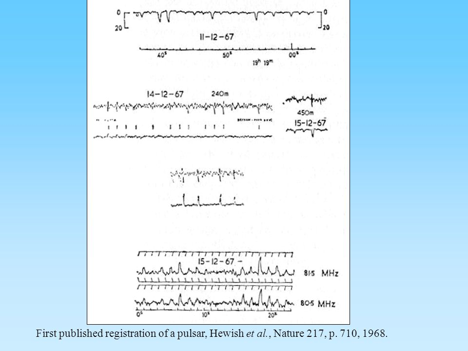 First published registration of a pulsar, Hewish et al., Nature 217, p. 710, 1968.