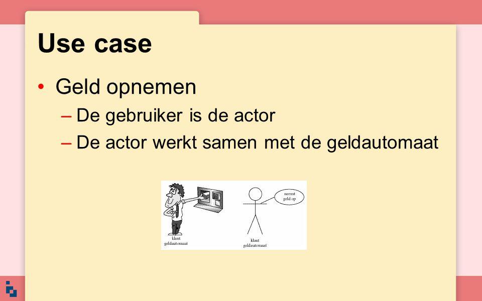 Use case Geld opnemen De gebruiker is de actor