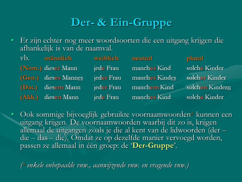 Der- & Ein-Gruppe Er zijn echter nog meer woordsoorten die een uitgang krijgen die afhankelijk is van de naamval.
