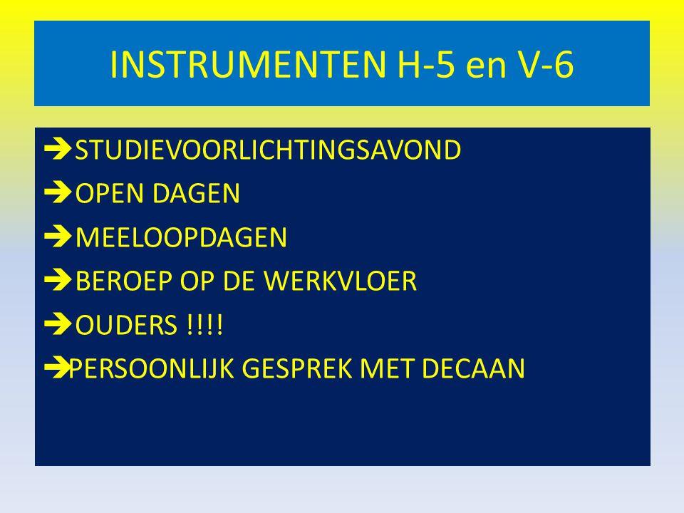 INSTRUMENTEN H-5 en V-6 STUDIEVOORLICHTINGSAVOND OPEN DAGEN