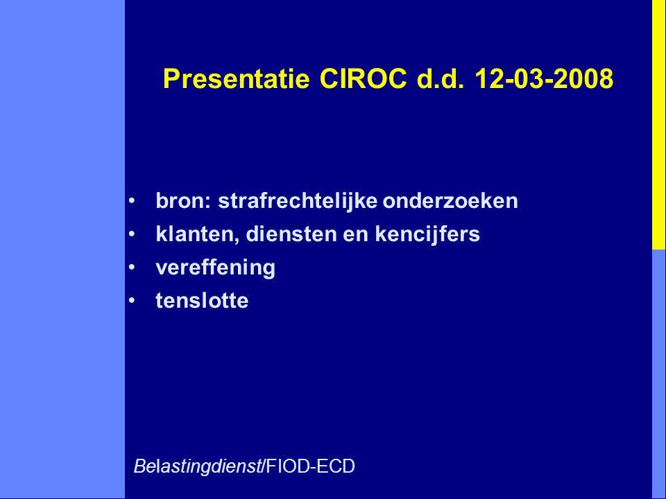 Presentatie CIROC d.d. 12-03-2008