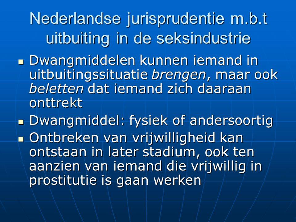 Nederlandse jurisprudentie m.b.t uitbuiting in de seksindustrie