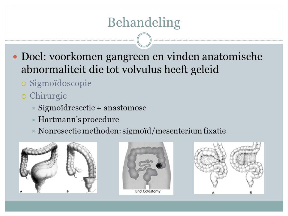Behandeling Doel: voorkomen gangreen en vinden anatomische abnormaliteit die tot volvulus heeft geleid.