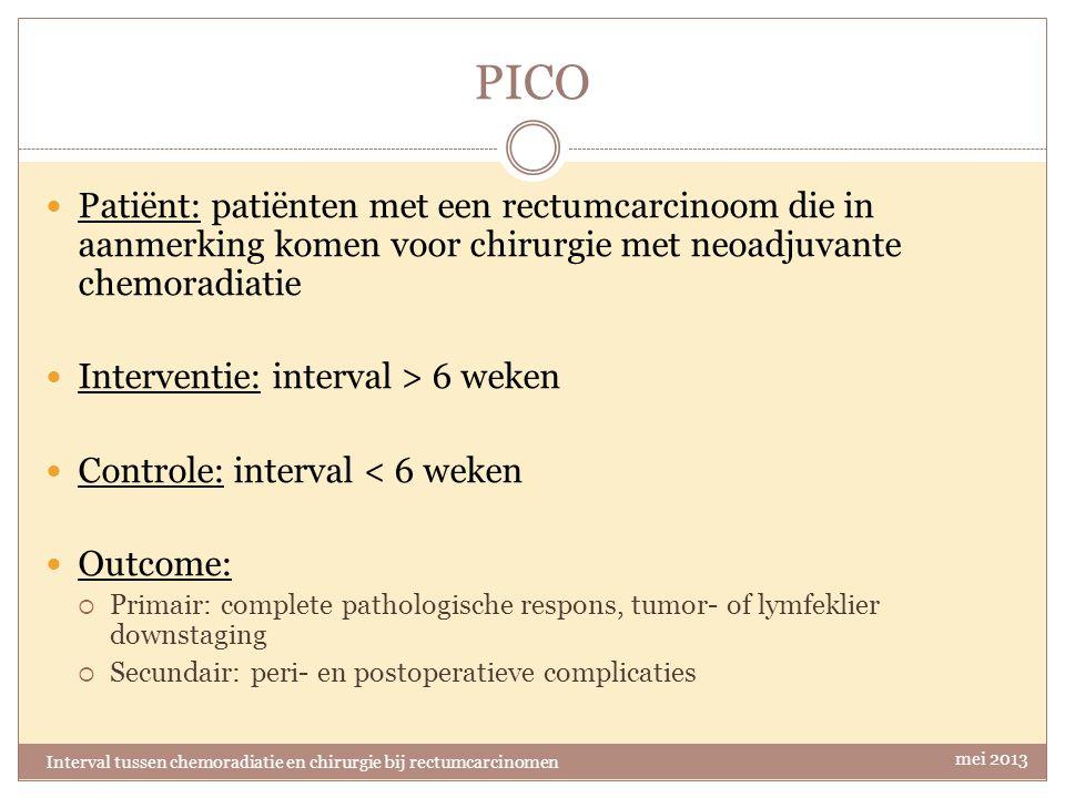 PICO Patiënt: patiënten met een rectumcarcinoom die in aanmerking komen voor chirurgie met neoadjuvante chemoradiatie.