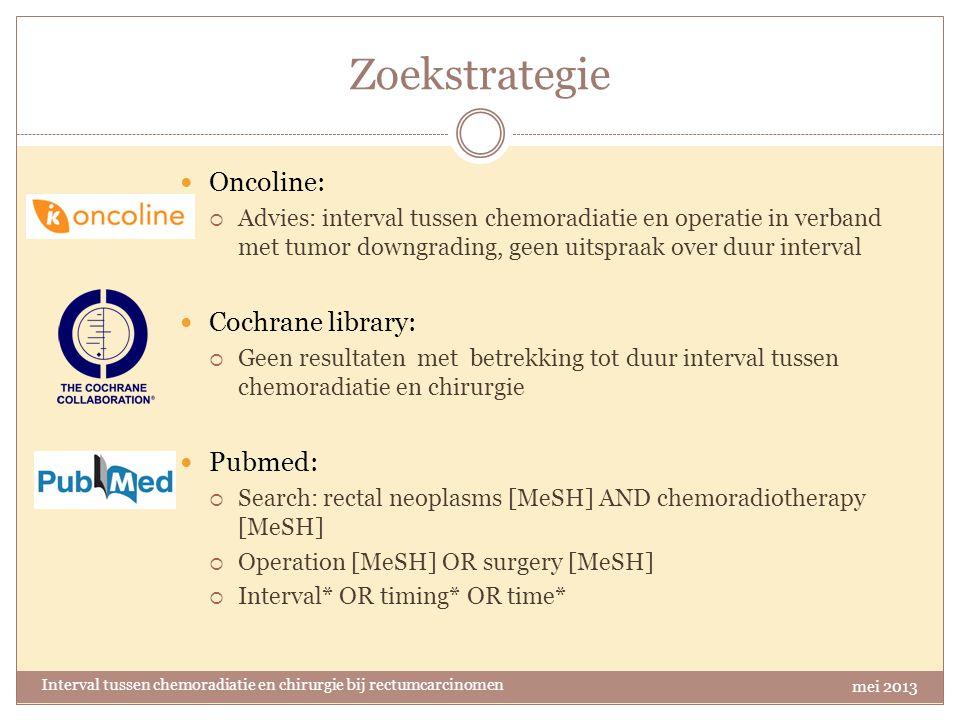 Zoekstrategie Oncoline: Cochrane library: Pubmed: