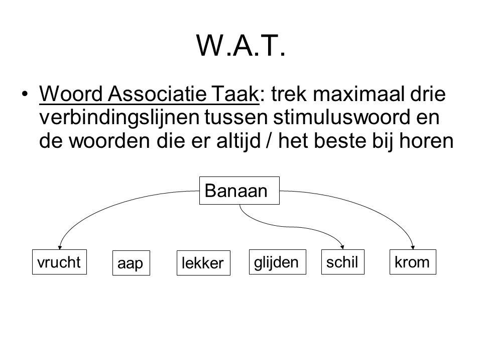 W.A.T. Woord Associatie Taak: trek maximaal drie verbindingslijnen tussen stimuluswoord en de woorden die er altijd / het beste bij horen.