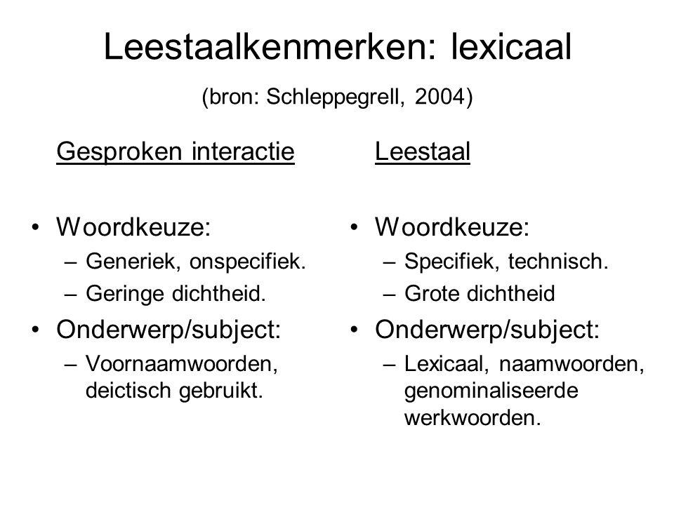 Leestaalkenmerken: lexicaal (bron: Schleppegrell, 2004)