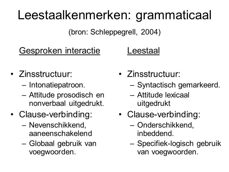 Leestaalkenmerken: grammaticaal (bron: Schleppegrell, 2004)