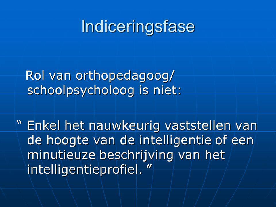 Indiceringsfase Rol van orthopedagoog/ schoolpsycholoog is niet: