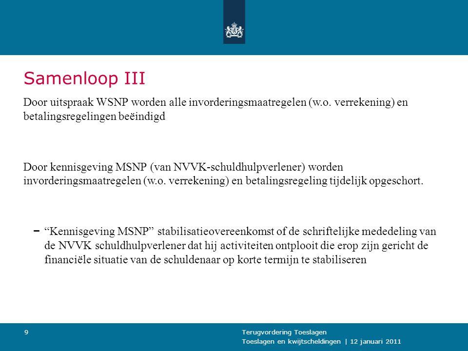 Samenloop III Door uitspraak WSNP worden alle invorderingsmaatregelen (w.o. verrekening) en betalingsregelingen beëindigd.