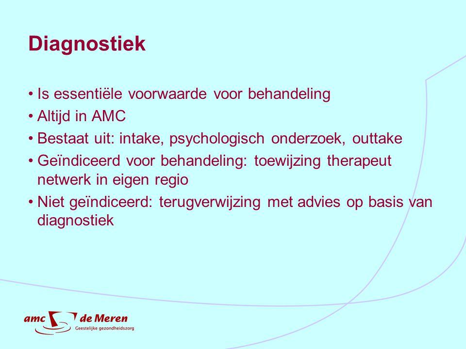 Diagnostiek Is essentiële voorwaarde voor behandeling Altijd in AMC