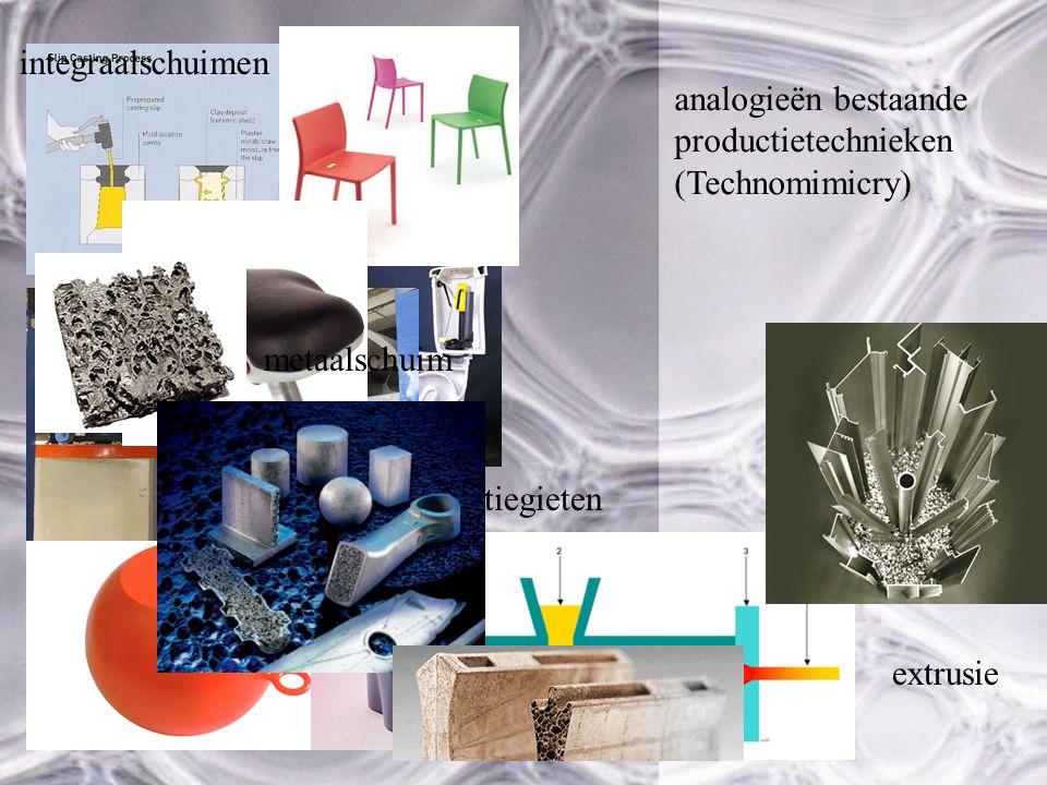 integraalschuimen analogieën bestaande productietechnieken. (Technomimicry) slibgieten. metaalschuim.