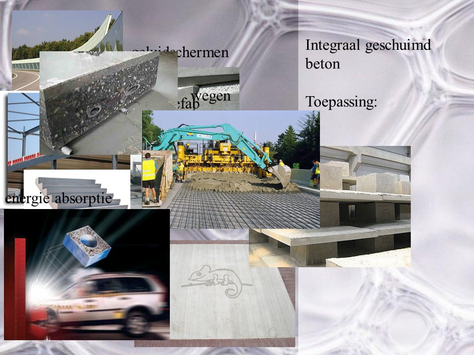Integraal geschuimd beton Toepassing: