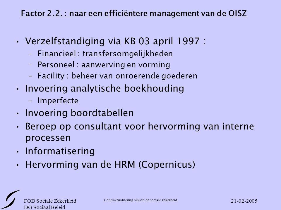 Factor 2.2. : naar een efficiëntere management van de OISZ